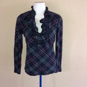 LRL Ralph Lauren Jeans Co Plaid Ruffle Top Shirt S